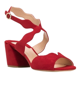 Red Scalloped Strap Sandals