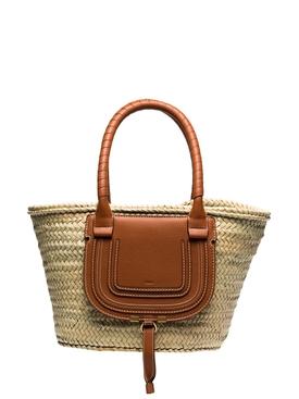 Marcie medium raffia basket bag TAN