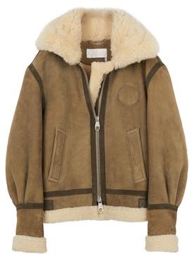 Aviator sheepskin jacket Brown
