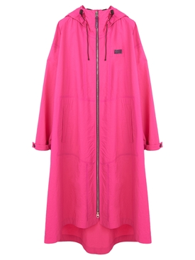Nylon belted raincoat with hood Pink