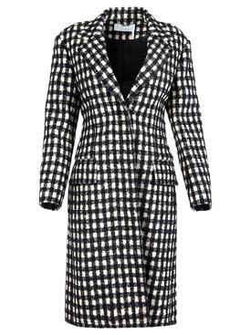 Checkered virgin wool blend coat black and white