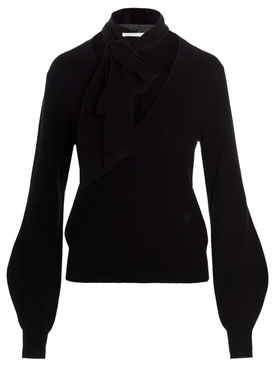 Cashmere V-Neck Puff Sleeves Sweater Black