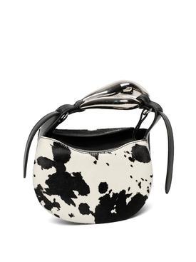 SMALL COW-PRINT KISS BAG Black and White