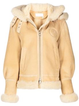 Suede merino shearling aviator jacket