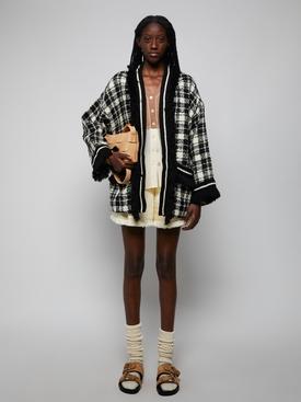 silk and wool two tone cardigan