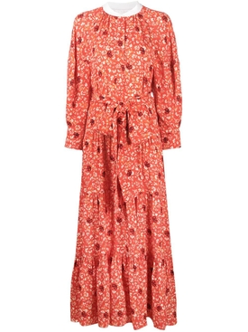 Bubbling orange print dress