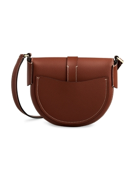 Small Darryl Saddle Bag, Sepia Brown