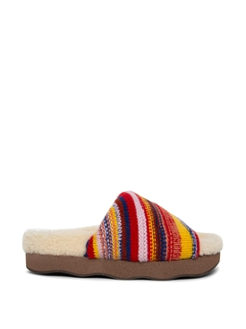 recycled cashmere and shearling wavy flat mule sandal