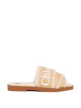 Woody Shearling-Trim Flat Sandals, Neutral
