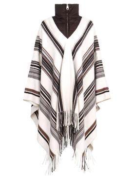 Multi-Stripe Colored Poncho Seedpearl Beige