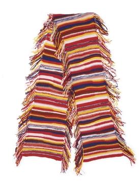 Irregular Stripe Cashmere Knit Scarf Multicolor Red