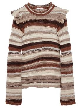 Irregular Stripe Cashmere Knit Black