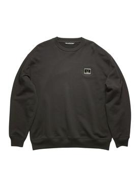 Striped crew neck sweater, black