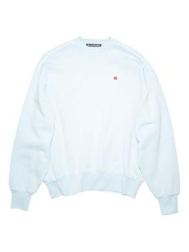 Drop Shoulder Face Sweater Powder Blue