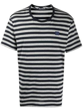 Striped Face Logo T-shirt Navy