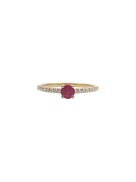 18Kt Gold Raised Ruby Diamond Ring