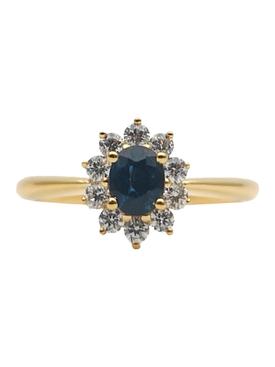 RAISED SAPPHIRE & WHITE DIAMOND RING