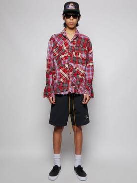 Boxy Stitchwork Shirt Red Plaid