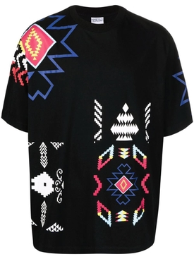 Oversized Patchwork folk tee, black