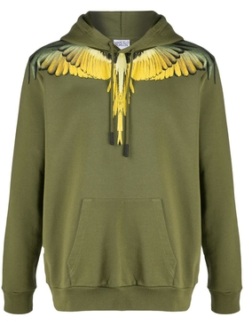 Army green Wings print hoodie jumper