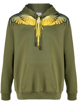 Army green Wings print hoodie jumper