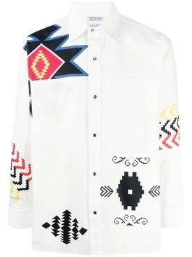 Patchwork folk long sleeve shirt, white