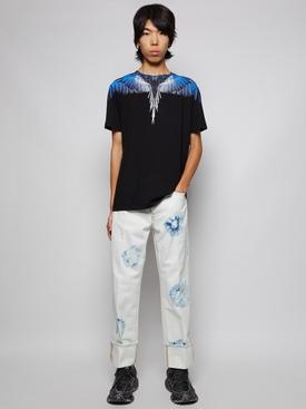 STRAIGHT LEG CROSS SHIBORI JEAN WHITE AND BLUE