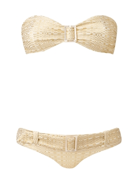 Buckle Bandeau Bikini Set, Gold
