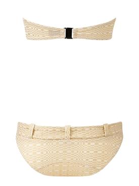 Buckle Bandeau Bikini Set, Gold