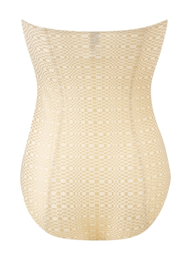 BUCKLE BANDEAU MAILLOT white and gold