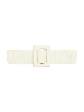 Spiritize Ecru Ruched Leather Belt