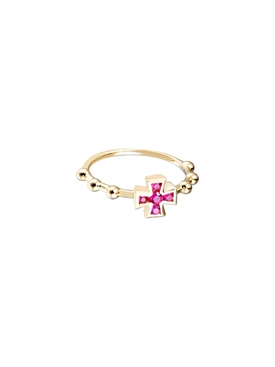 18kt Gold Ruby Cross Ring