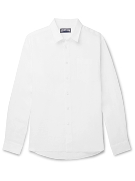 White Caroubis linen button down shirt