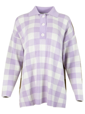 Checked polo shirt lilac and off-white