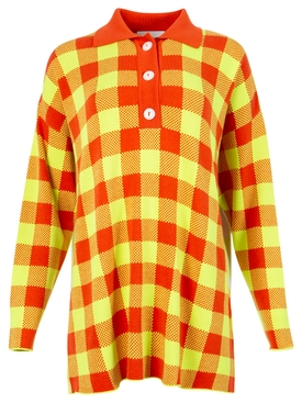 Checked polo shirt orange and off-white