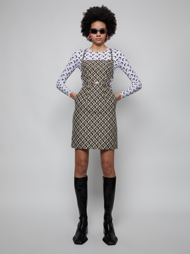 MOON LOZENGE PRINT APRON DRESS
