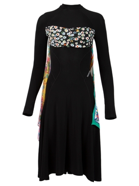 REGENERATED DRAPED SILK SCARVES HYBRID DRESS BLACK