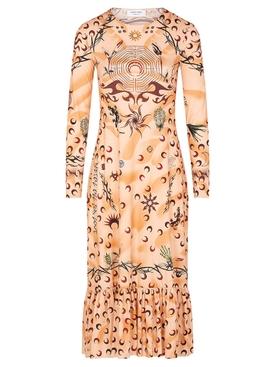 FRILLED-HEM TATTOO DRESS ORANGE