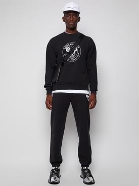 Mischief Crest Crew Neck Fleece Sweatshirt Black
