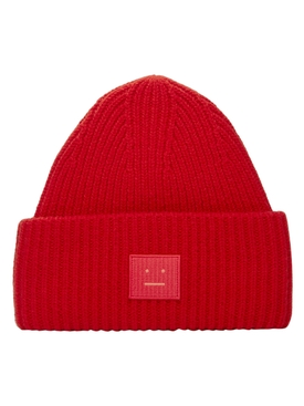 Ribbed Face Beanie RED
