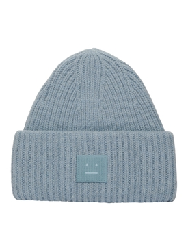 Ribbed Logo Beanie Hat MINERAL BLUE