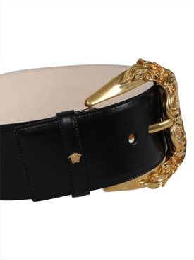 Black leather gold-tone buckle belt