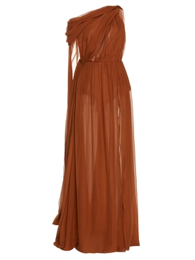 Dundas - Silk Draped Evening Gown Brown - Women
