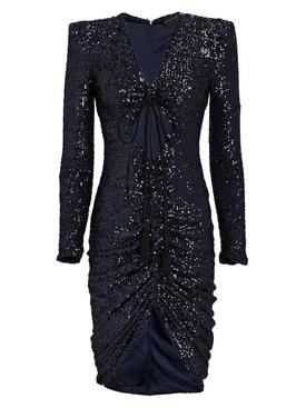 Navy Blue Sequin Mini Dress