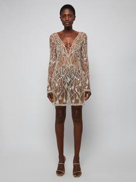 Nude Sequined Mini Dress