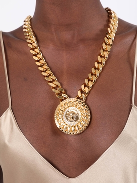 Medusa medallion gold-tone chain necklace