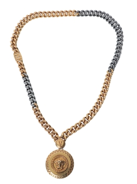 Silver and gold-tone medallion necklace