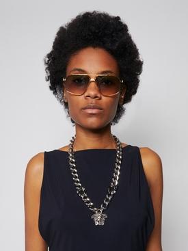 Black-Palladium crystal-embellished Medusa chain necklace