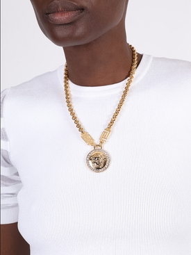 Gold-tone Medusa Head Necklace