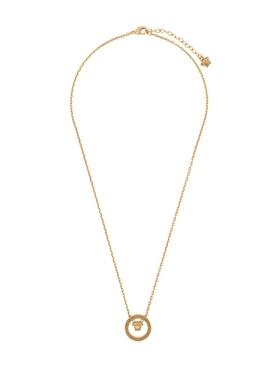 Gold-tone circle medusa pendant necklace